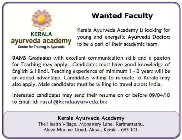 Vacancy for the post of Ayurveda Doctors at Kerala Ayurveda