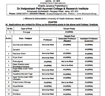 Jobs Opportunities in Ayurveda July 2019,Ayurveda jobs July